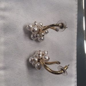 Gold crystal and pearl Swarovski earrings